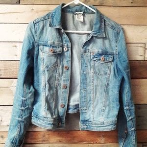 H&M Distressed Jean Jacket-SZ 8